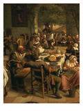 Fête in an Inn, 1674 (Detail of Table) Giclee Print by Jan Steen