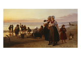 Summer at the Beach, Brittany, Undated Giclee Print by Henri-Jacques Bource