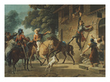 Don Quixote Standing on the Hindquarters of His Horse to Reach the Window of Dulcinea Giclee Print by Jean-frederic Schall