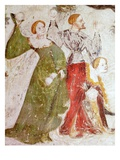 January or Aquarius with Courtiers in Snowball Fight Outside Stenico Castle Giclee Print by  Venceslao