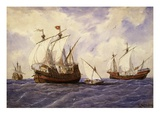 Venetian Carrack of 14th Century, 1885 Watercolour Giclee Print by Rafael Monleon Y Torres