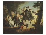 Don Quixote and Sancho Training Blindfold, Engraving, Late 18th Century Giclee Print by Jean-frederic Schall