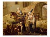 Peasants Leaving a Farm, from Les 4 Heures De La Journée, Le Matin Où Le Départ Giclee Print by Francois Louis Joseph Watteau