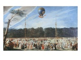 Ascent of Montgolfier Balloon, Madrid, Spain, 12 August 1792 Giclee Print by Antonio Carnicero