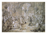 Masked Ball in a Palace, 1751 Drawing Giclee Print by Charles Joseph Natoire