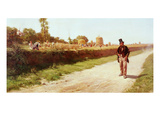 Working in the Fields, 19th Century Giclee Print by Michele Cammarano