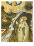 Hermit in His Grotto in Ecstasy, Retable of Mary Magdalene from Perella Giclee Print by Bernardo Martorell
