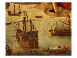 Spanish Ships from Time of Conquest of America, from Virgin of the Navigators Giclee Print by Alejo Fernandez