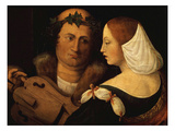 Court Poet and Young Woman, Early 16th Century Giclée-tryk af Dosso Dossi