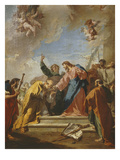 Christ Giving Saint Peter the Keys to Heaven, C.1730-35 Giclée-tryk af Giovanni Battista Pittoni