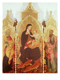 Virgin and Child Surrounded by Saints, Triptych, 1445 Gicle-tryk af Giovanni di Paolo