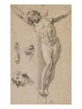 Christ on the Cross, Study, Drawing Giclée-Druck von Simon Vouet