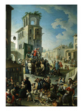 Village Market Scene with Quack or Charlatan 18th Century Giclee Print by Graneri