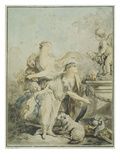 Offering to Friendship, Drawing, 18th Century Giclee Print by Jean-Baptiste Huet