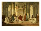 Joseph Expliquant Les Songes Du Pharaon (Joseph Explaining the Pharaoh's Dreams to Him) Giclée-tryk af Jean Adrien Guignet