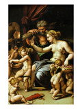 Venus and Vulcan with Eros and Five Putti Giclée-tryk af Giulio Romano