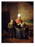 Pauvre Mère! or Poor Mother, Abandoned Woman with Children Waiting Outside a Tavern, 1824 Giclee Print by Jean-Marie Jacomin