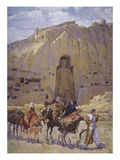 Afghan Nomad Family in Front of the Buddhas of Bamiyan, 1950 Giclee Print