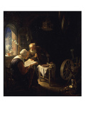 Reading the Bible Giclee Print by Dirck Van Delen