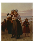 Mothers and Children, Summer at the Beach, Brittany, Undated, Detail Giclee Print by Henri-Jacques Bource
