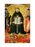 Saint Thomas Aquinas Standing Between Aristotle and Plato and over the Arab Philiosopher Averroes Giclée-tryk af Benozzo Gozzoli