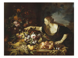 Woman Taking Fruit, 1669 Giclee Print by Abraham Brueghel