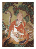 Sansin, the Spirit of the Mountain, Coloured Silk, 18th Century, Choson Period, Korea (Mg15615) Giclee Print