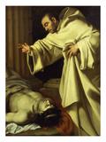 Moine Bénissant Un Pestiferé (Monk Blessing a Plague Victim) Giclée-Druck von Simon Vouet