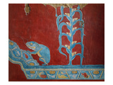 Maize Plant and Toad, Reconstruction of Mural Painting, New Excavations, Cacaxtla, Mayan Style Giclee Print