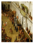 Charles Emmanuel I and Cardinal Maurizio Stand on Balcony Watching Tournament in Turin Castle Giclée-tryk af Antonio Tempesta
