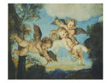 Cupids Playing, Drawing, 18th Century Giclee Print by Noel Nicolas Coypel