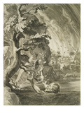 The Tortures of Tantalus, Condemned to Eternal Hunger and Thirst in Hades, Engraving, 17th Century Giclee Print by  Flemish School