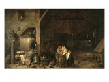 Old Man and the Maid, 1650 Giclee Print by David Teniers the Younger