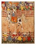 Mexican Rodeo, Folk Art on Wooden Sheet, 20th Century Giclée-tryk