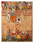 Mexican Rodeo, Folk Art on Wooden Sheet, 20th Century Giclée-Druck