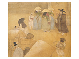 Meeting Between a Notable and Three Women in the Street, from Genre Scenes Giclee Print by Hong-Do Kim