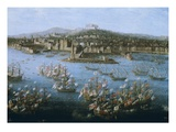 King Charles III of Spain's Naval Fleet at Naples, Italy, October 6, 1759 Giclée-tryk af Antonio Joli