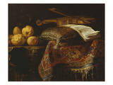 Still Life with Citrons and Violin, Undated Gicléedruk van Francesco Fieravino