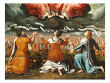 Adoration of the Holy Trinity by Abraham with Sword, David with Harp and Saint John with Eagle Giclee Print by  French School