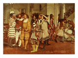 Guests; and Servants Preparing Presents for King Giclee Print by Marcello Fogolino