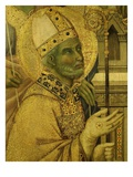 Bishop Saint, from La Maesta (Majesty), Painted 1308 for High Altar of Duomo (Cathedral) Giclée-tryk af Duccio di Buoninsegna