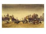 Champs Elysées, Paris, France, January 1871, Watercolour Giclee Print by Emile-Edme Laborne