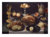Chicken, Still Life, Paint on Wood, 1639 Lámina giclée por Peter Binoit