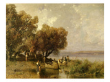 Fishermen at Lake Balaton Giclee Print by Geza Meszoly
