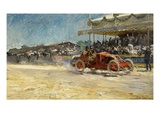 The Winning Car Arriving, First Grand Prix of the Automobile Club De France, 1906 Giclee Print by Louis Marie De Schryver