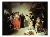 Lucia Being Presented to Cardinal Federico in the Tailor's House Giclee Print by Francesco Coghetti