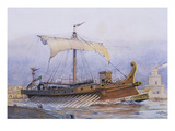 Roman Vessel Leaving the Dockyard, Watercolour Reconstruction, Late 19th - Early 20th Century Giclee Print by Albert Sebille