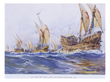Ships of Saint Louis Ix During the 8th Crusade, 1268, Watercolour Reconstruction, Late 19th Century Giclee Print by Albert Sebille