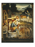 Meeting of Jacob and Rachel at the Well, Italianate Mural Painting, Mid 16th Century Studiolo Giclee Print by  Italian School
