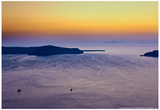 Sunset Over the Aegean Sea in Santorini Greece Plakater